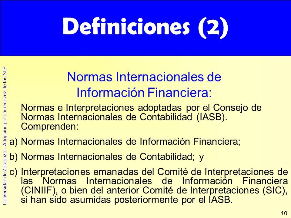 Definiciones (2) Definiciones (2) Normas Internacionales de