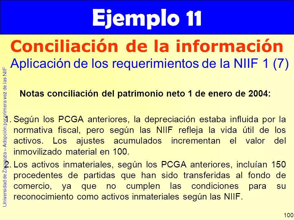 Ejemplo 11 Conciliación de la información