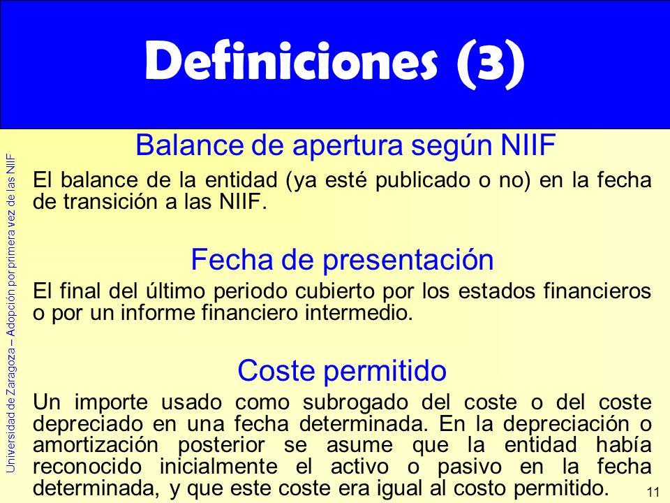 Definiciones (3) Definiciones (3) Balance de apertura según NIIF