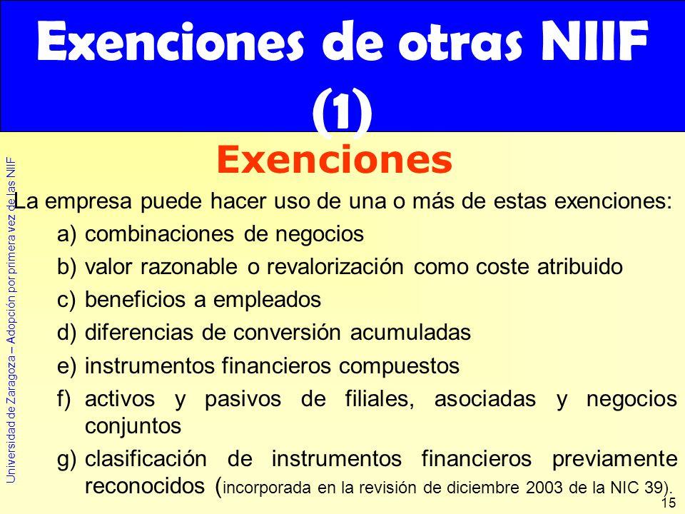 Exenciones de otras NIIF (1)