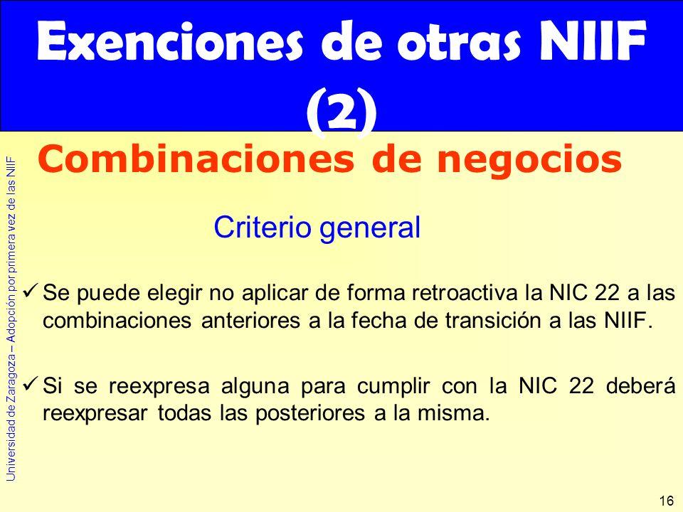 Exenciones de otras NIIF (2)