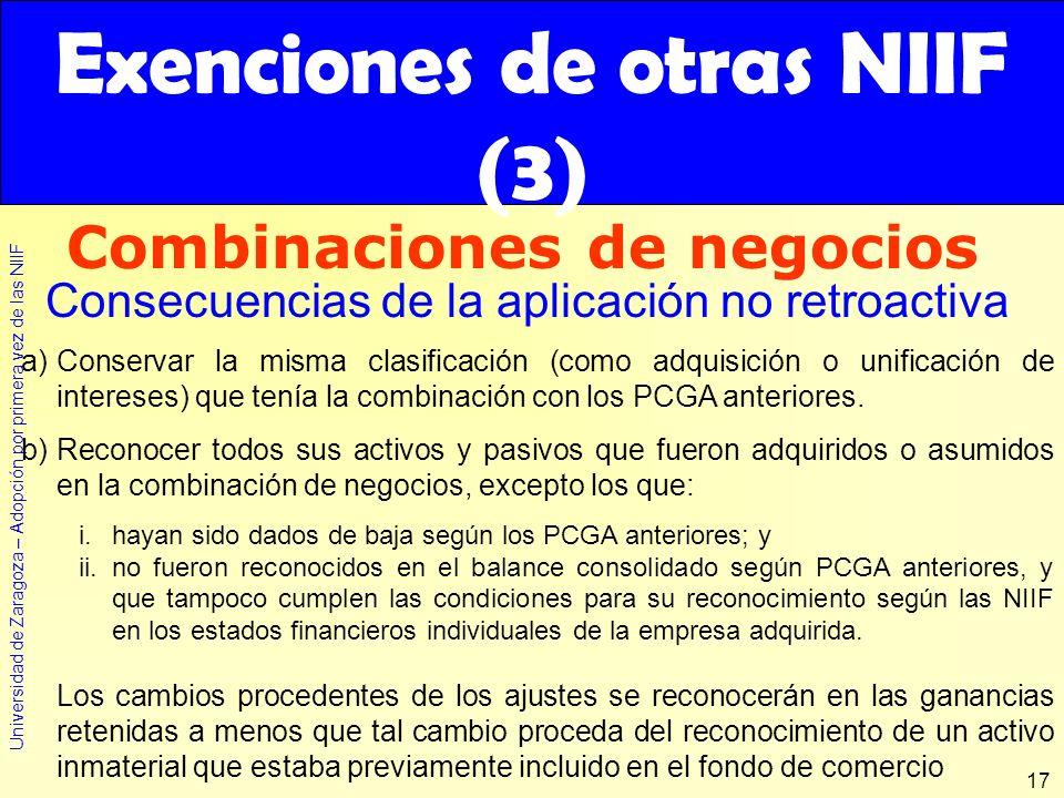 Exenciones de otras NIIF (3)