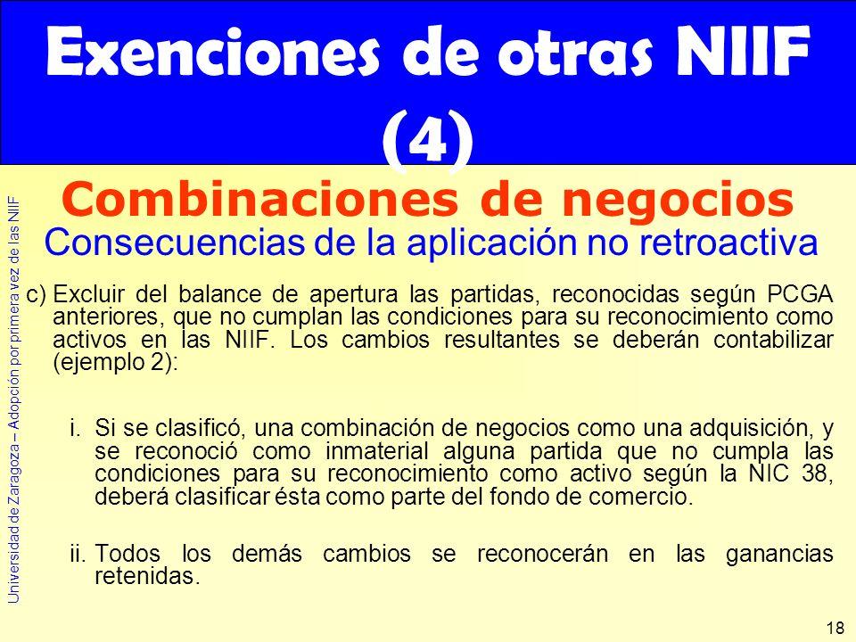 Exenciones de otras NIIF (4)