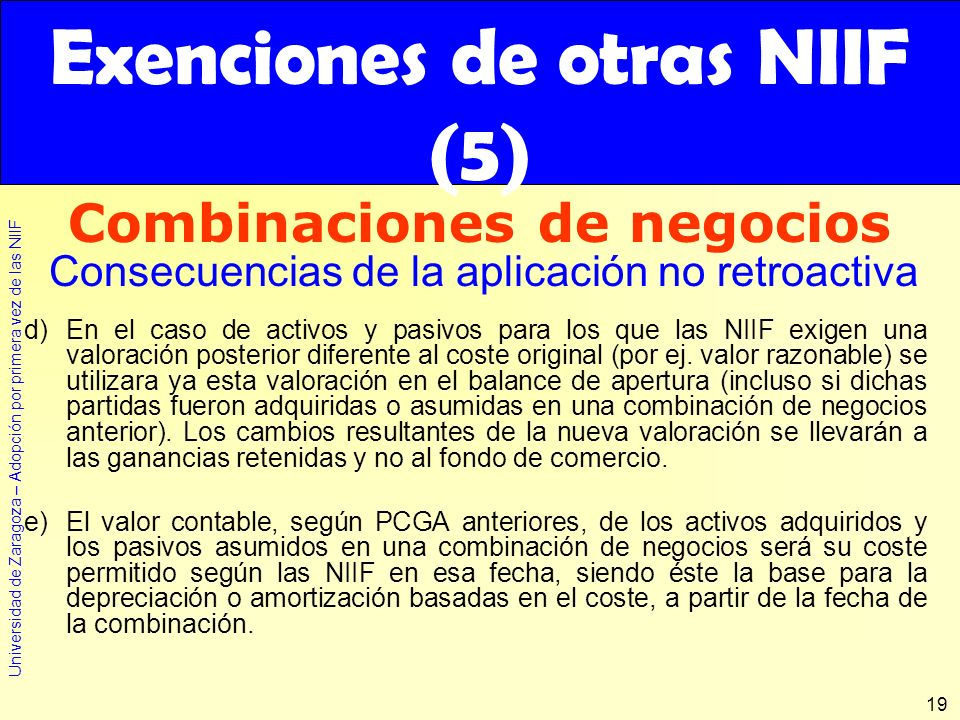 Exenciones de otras NIIF (5)