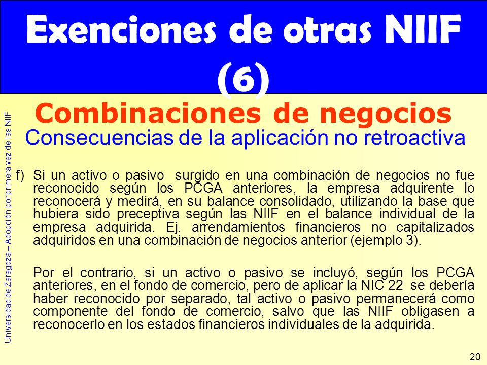 Exenciones de otras NIIF (6)
