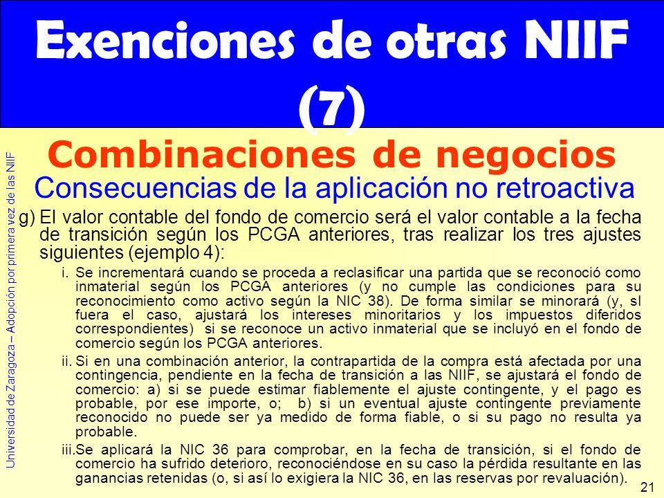 Exenciones de otras NIIF (7)