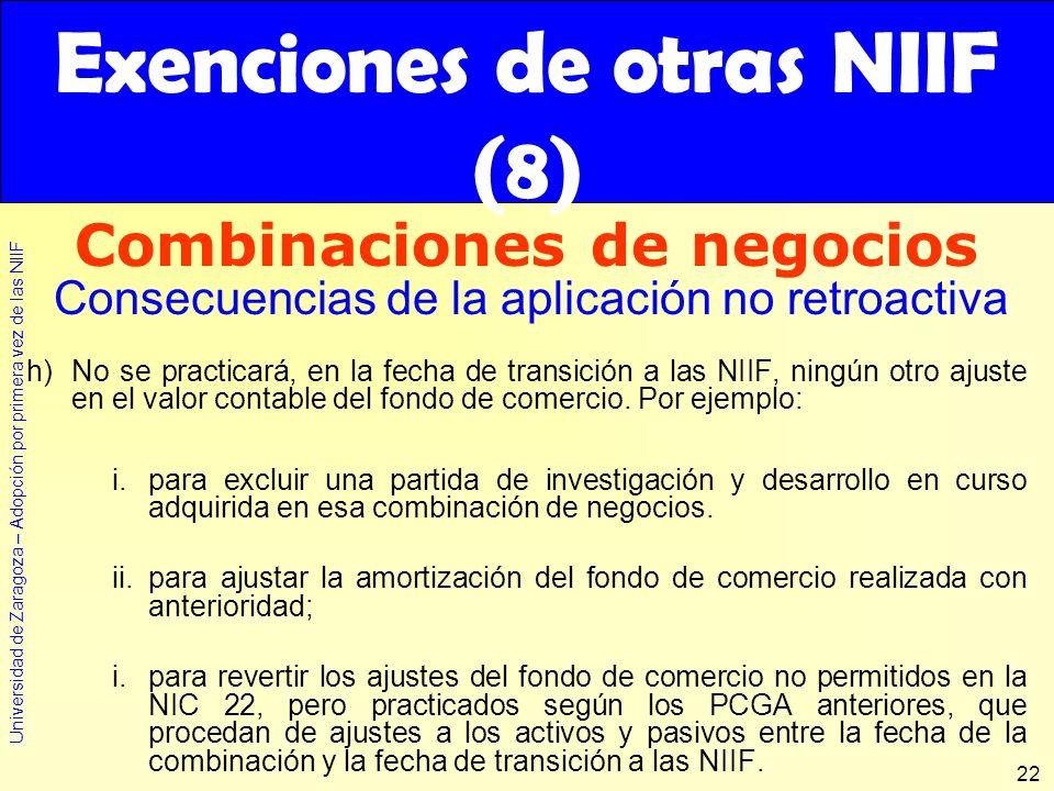 Exenciones de otras NIIF (8)