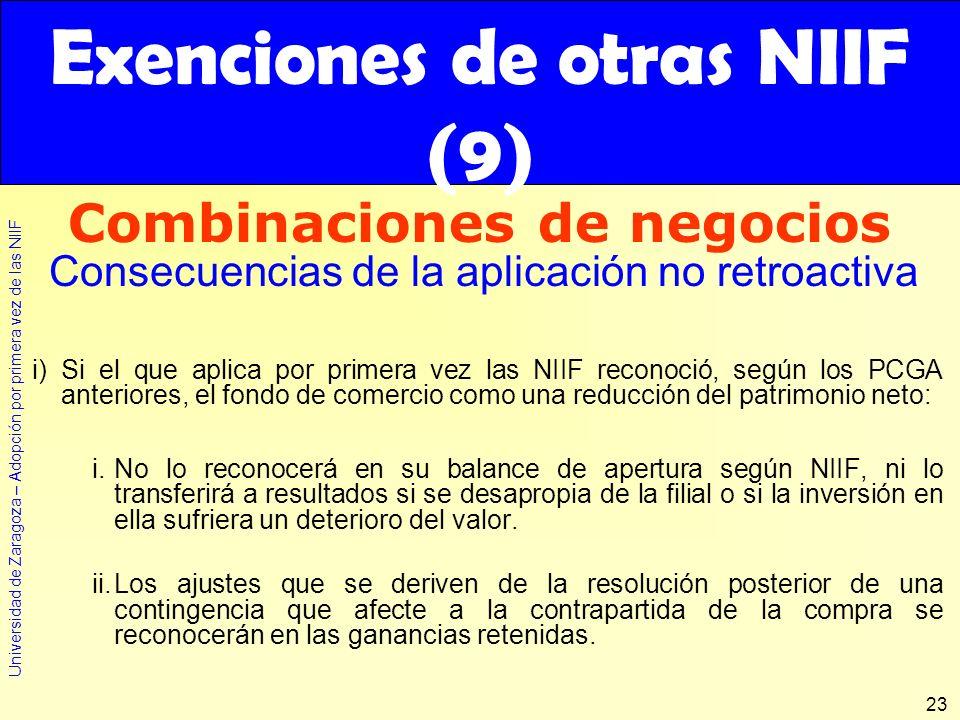 Exenciones de otras NIIF (9)
