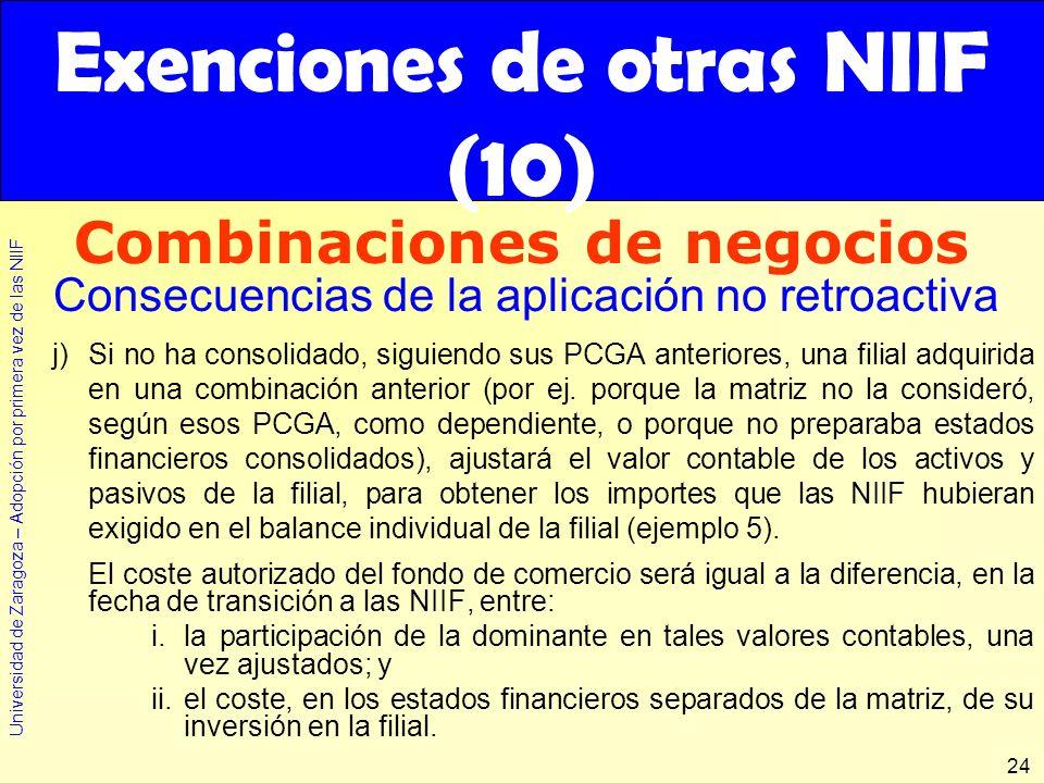 Exenciones de otras NIIF (10)