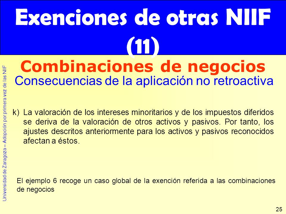 Exenciones de otras NIIF (11)