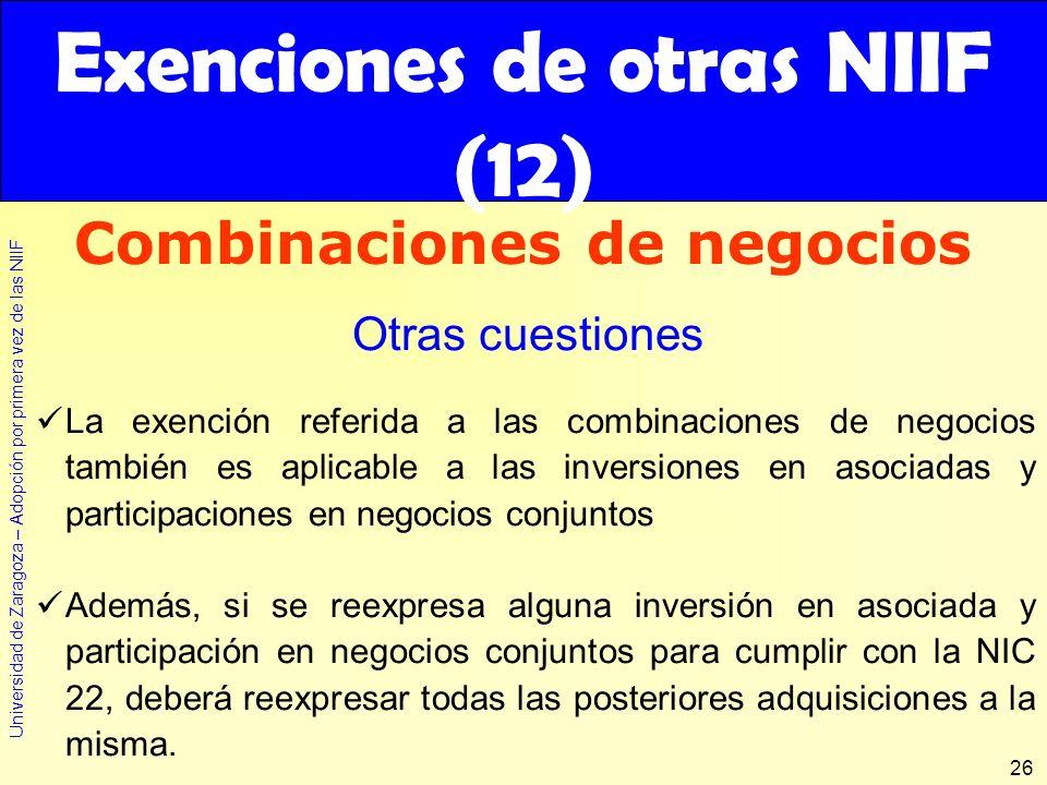 Exenciones de otras NIIF (12)