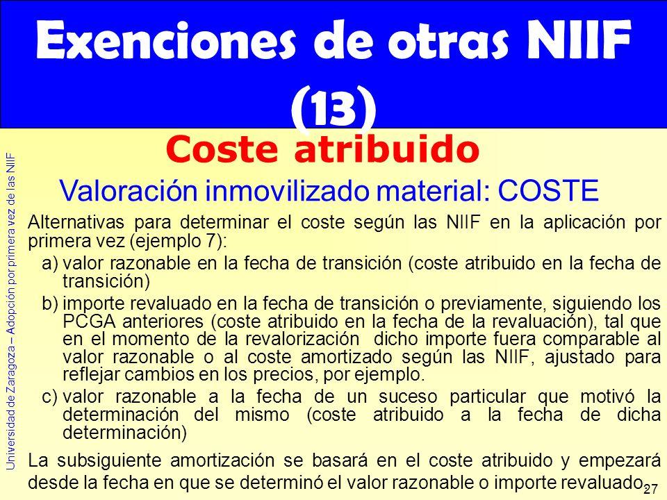 Exenciones de otras NIIF (13)