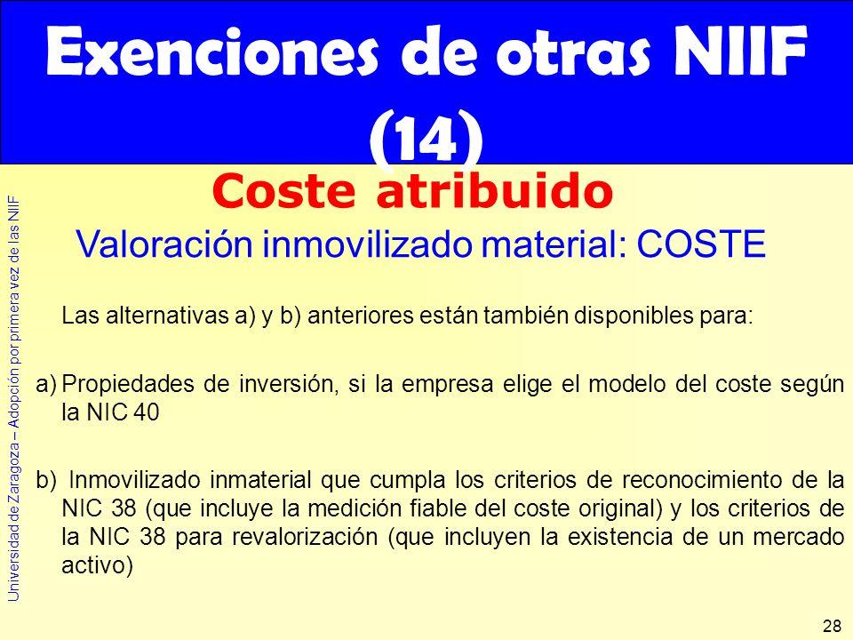 Exenciones de otras NIIF (14)