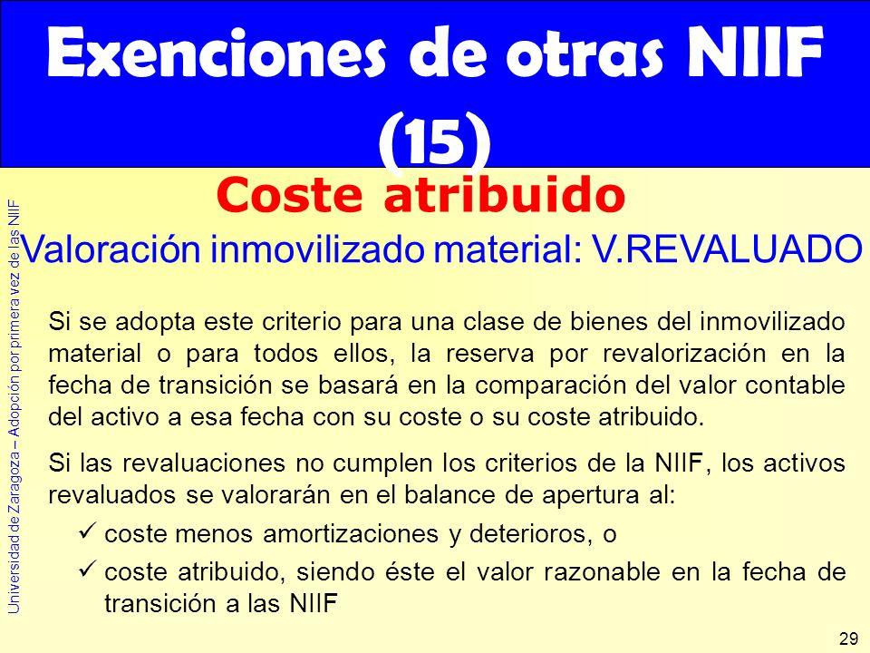 Exenciones de otras NIIF (15)