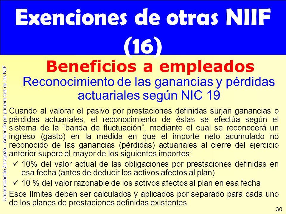Exenciones de otras NIIF (16)