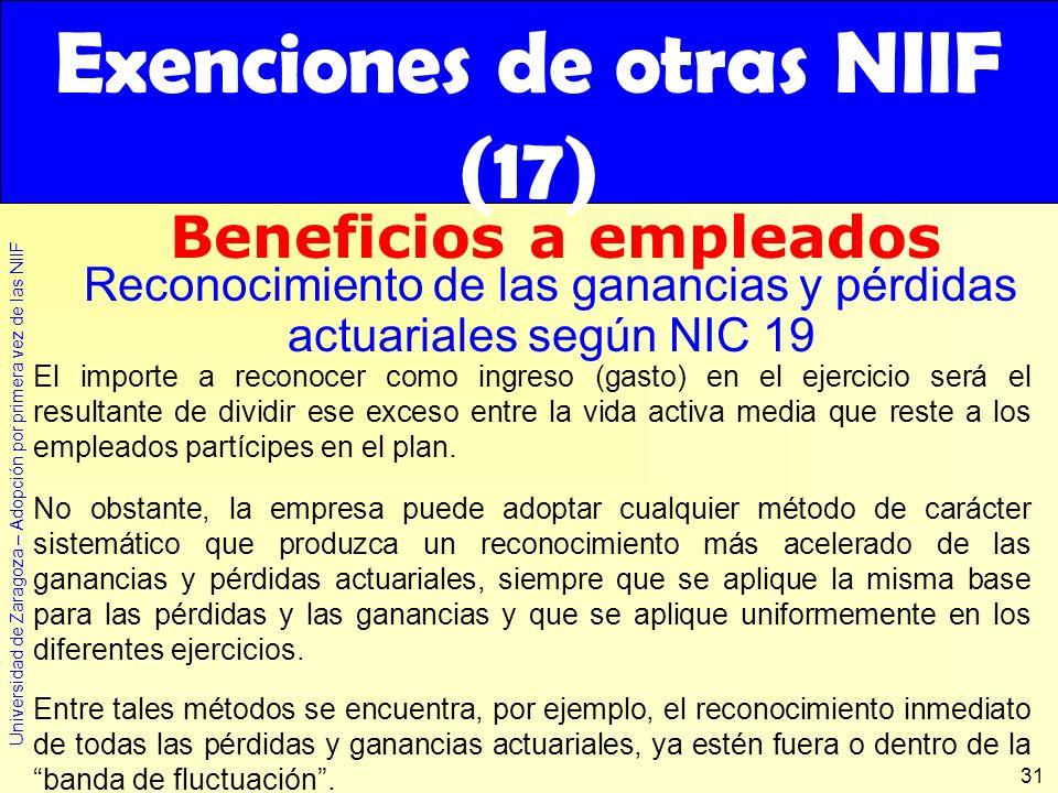 Exenciones de otras NIIF (17)