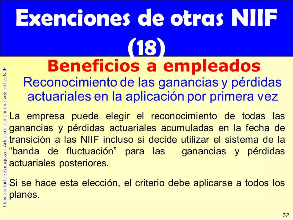 Exenciones de otras NIIF (18)