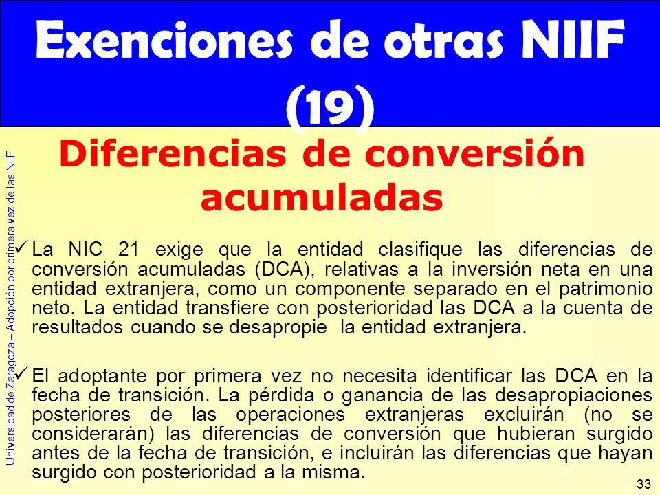 Exenciones de otras NIIF (19) Diferencias de conversión acumuladas