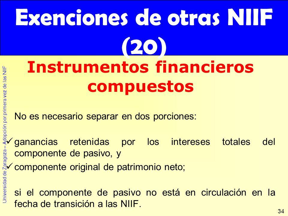 Exenciones de otras NIIF (20) Instrumentos financieros compuestos