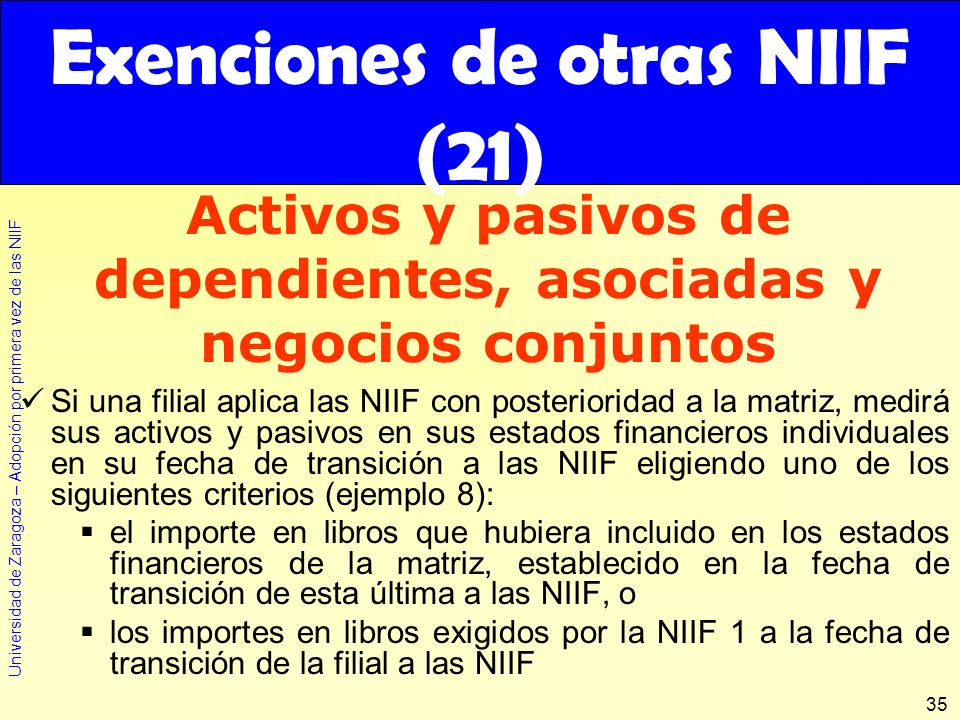 Exenciones de otras NIIF (21)
