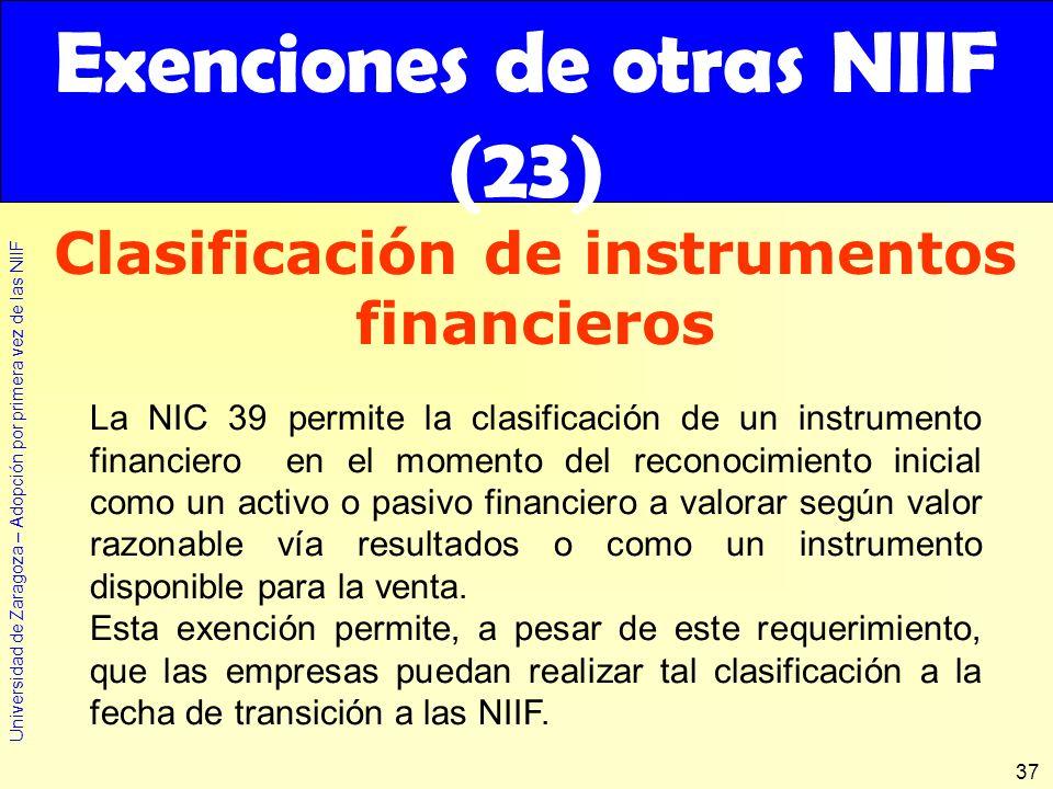 Exenciones de otras NIIF (23)