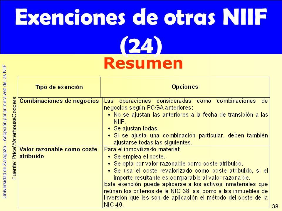 Exenciones de otras NIIF (24)