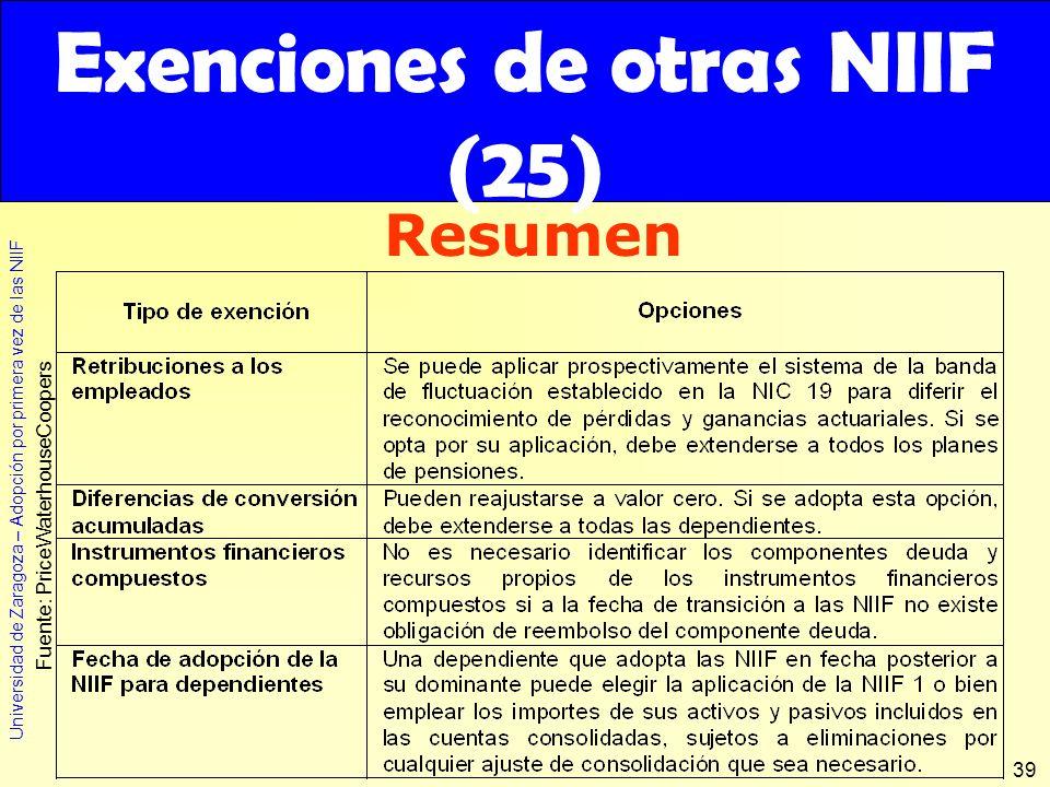 Exenciones de otras NIIF (25)