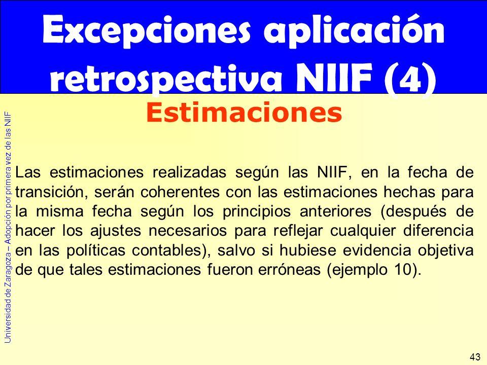 Excepciones aplicación retrospectiva NIIF (4)