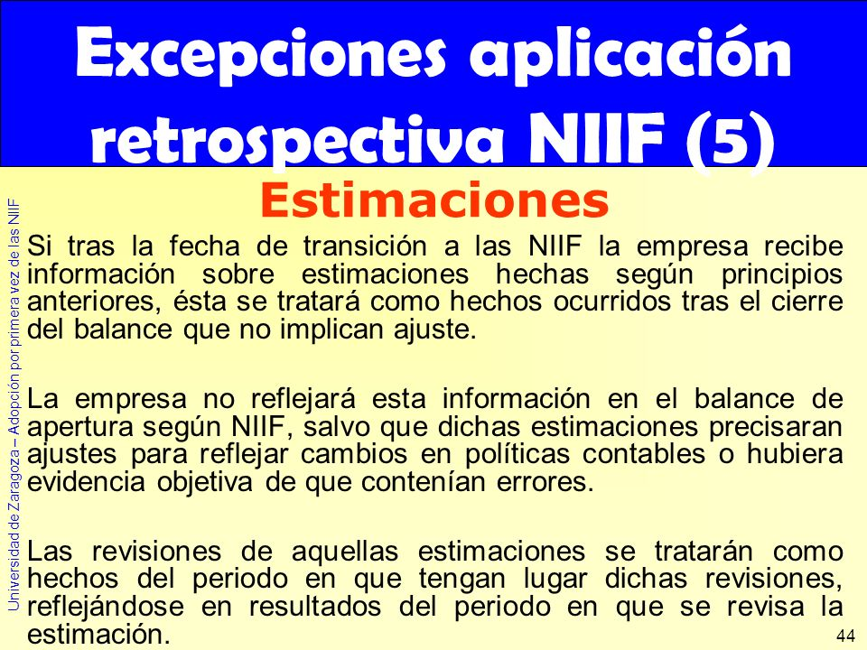 Excepciones aplicación retrospectiva NIIF (5)