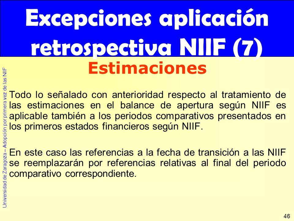Excepciones aplicación retrospectiva NIIF (7)