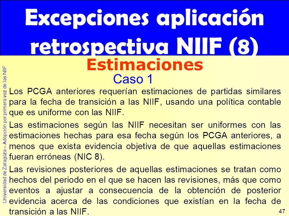 Excepciones aplicación retrospectiva NIIF (8)