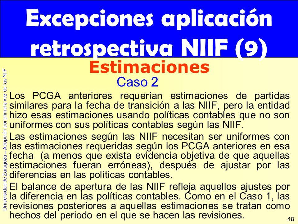 Excepciones aplicación retrospectiva NIIF (9)