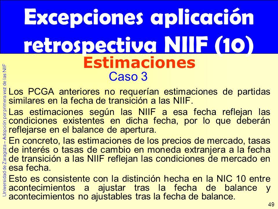 Excepciones aplicación retrospectiva NIIF (10)