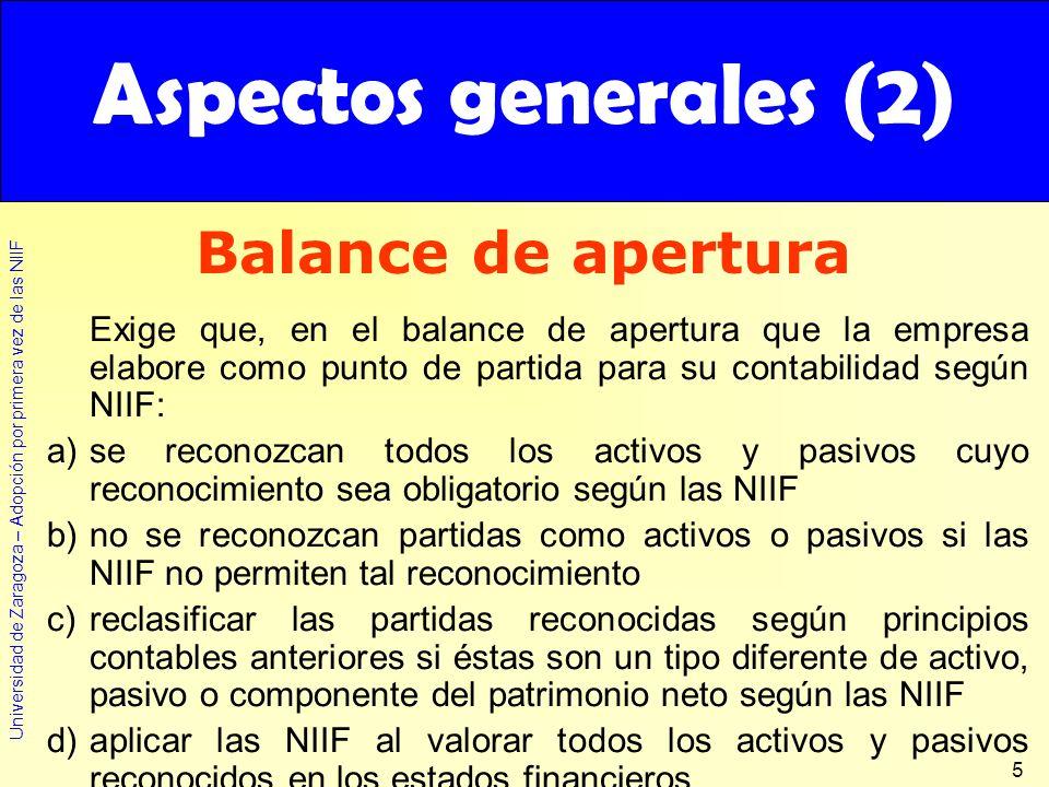 Aspectos generales (2) Balance de apertura