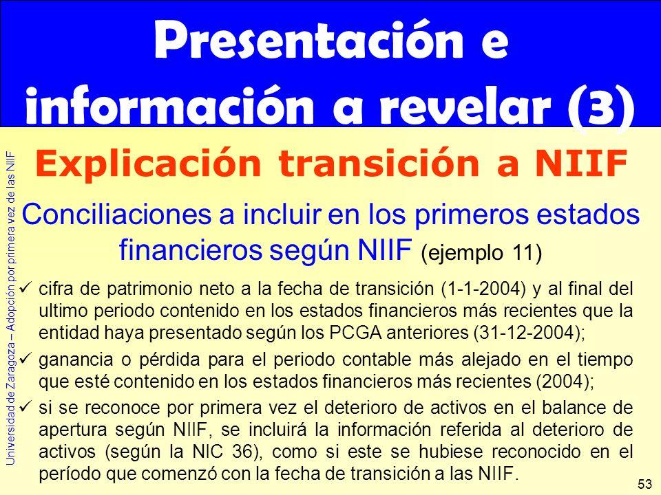 Presentación e información a revelar (3) Explicación transición a NIIF