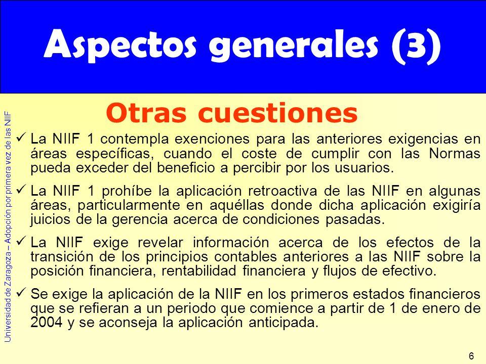 Aspectos generales (3) Otras cuestiones