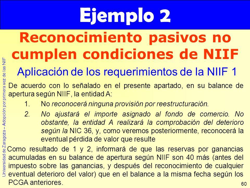 Reconocimiento pasivos no cumplen condiciones de NIIF