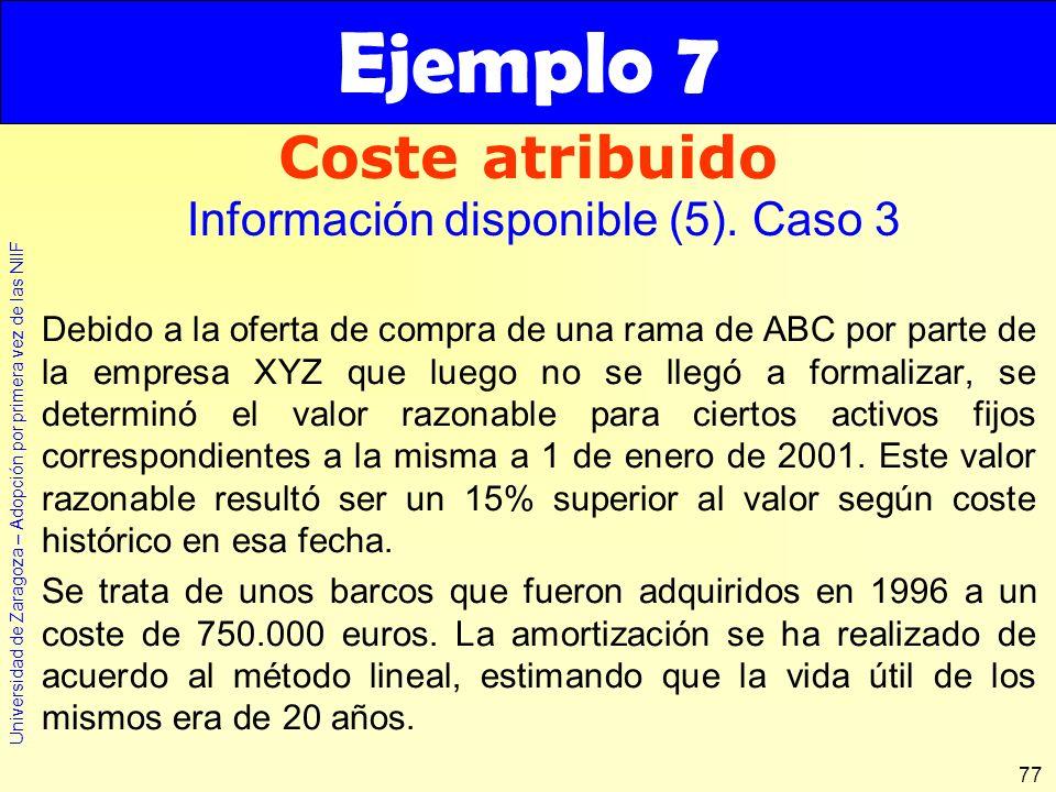 Ejemplo 7 Coste atribuido Información disponible (5). Caso 3
