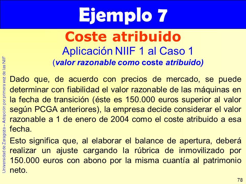 Ejemplo 7 Coste atribuido Aplicación NIIF 1 al Caso 1