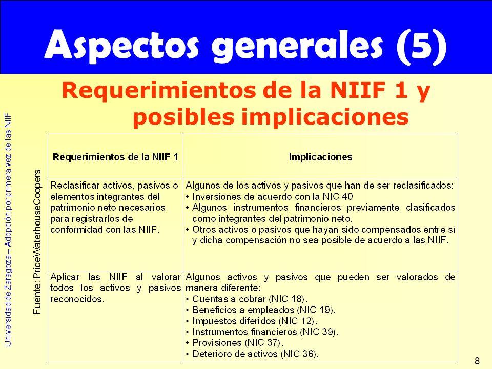 Requerimientos de la NIIF 1 y posibles implicaciones