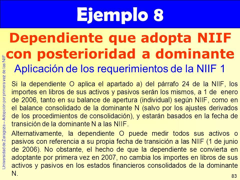 Dependiente que adopta NIIF con posterioridad a dominante