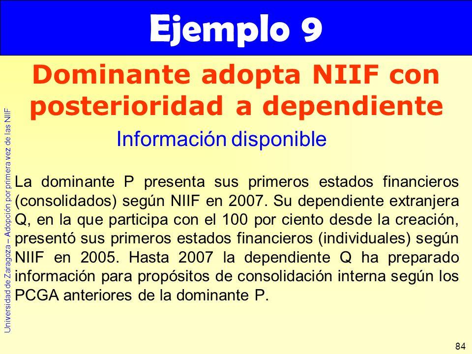 Dominante adopta NIIF con posterioridad a dependiente