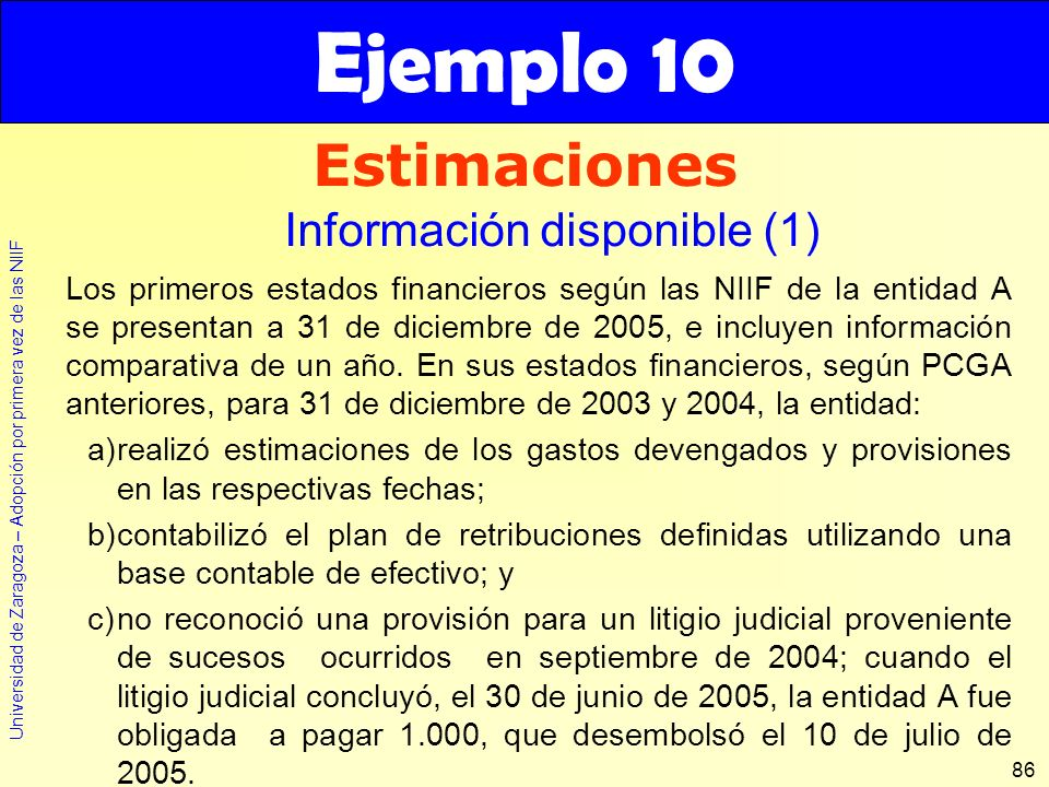 Ejemplo 10 Estimaciones Información disponible (1)
