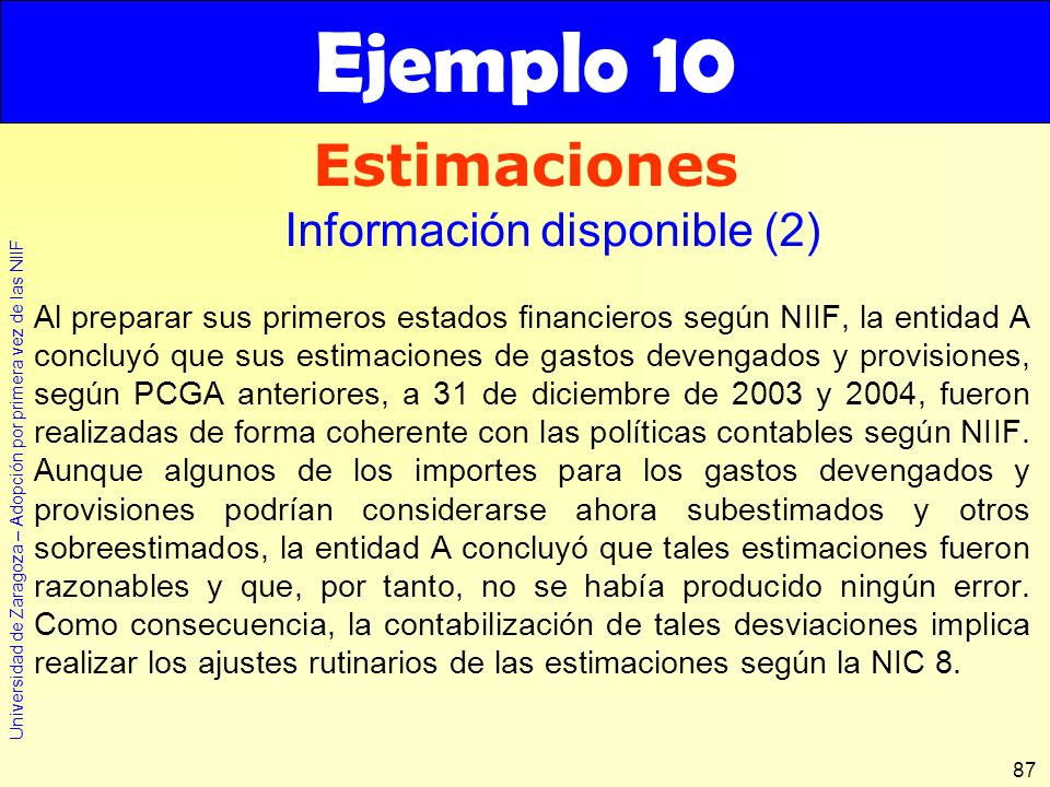 Ejemplo 10 Estimaciones Información disponible (2)