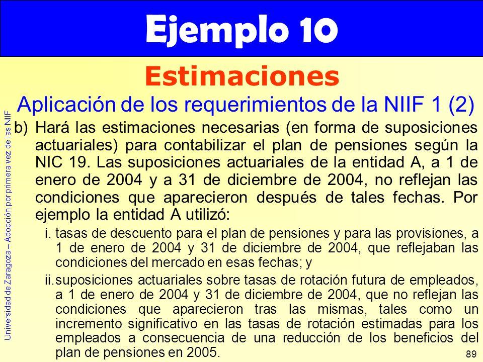 Ejemplo 10 Estimaciones. Aplicación de los requerimientos de la NIIF 1 (2)