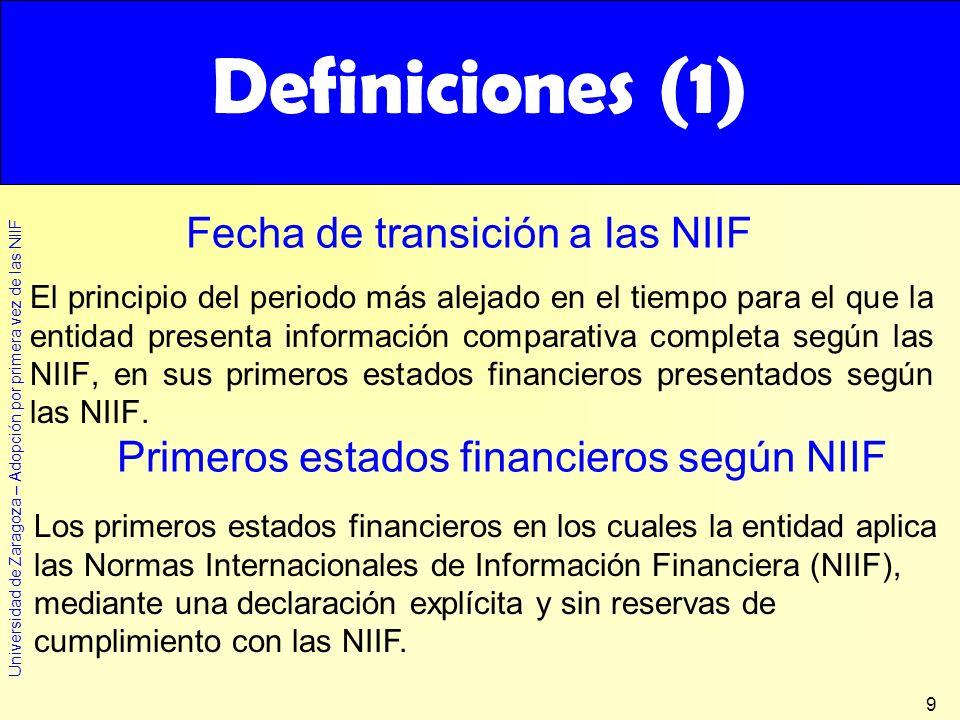 Definiciones (1) Fecha de transición a las NIIF