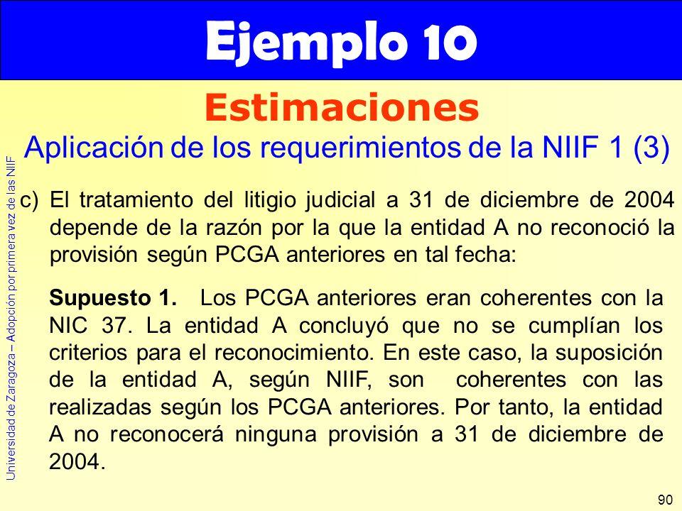 Ejemplo 10 Estimaciones. Aplicación de los requerimientos de la NIIF 1 (3)