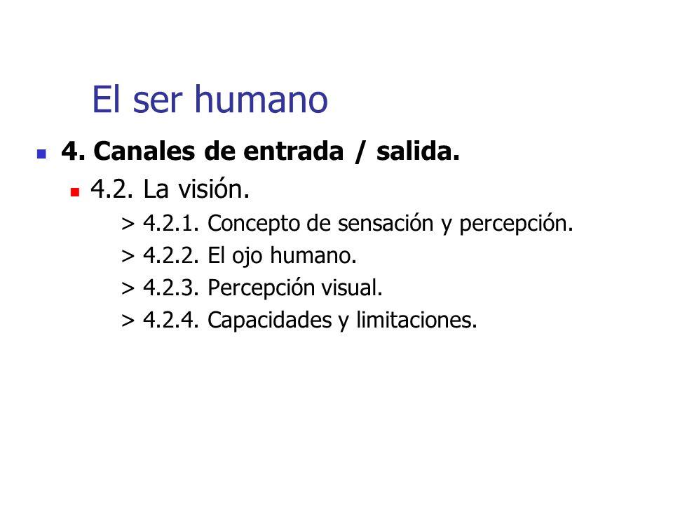 El ser humano 4. Canales de entrada / salida. 4.2. La visión.