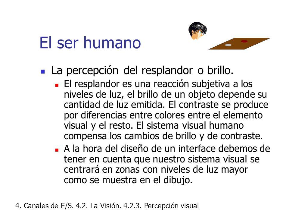 El ser humano La percepción del resplandor o brillo.