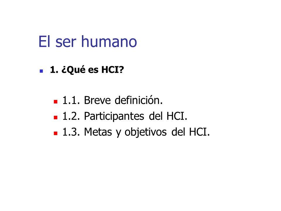El ser humano 1.1. Breve definición. 1.2. Participantes del HCI.